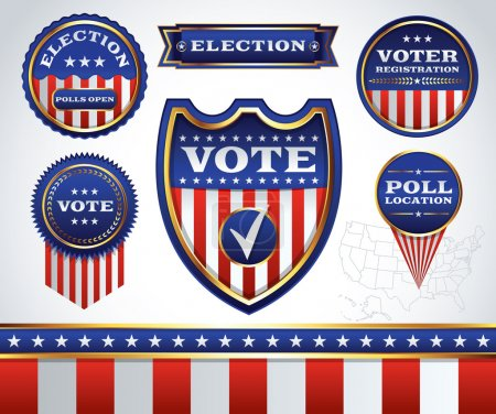 Set of Election and Voting Badges and Labels