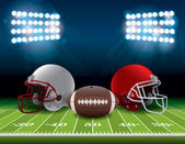 American Football Field with Helmets and Ball Illustration