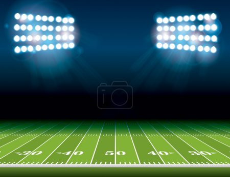 Illustration for An illustration of an American Football field with bright stadium lights shining on it. Vector EPS 10 available. Room for copy. - Royalty Free Image