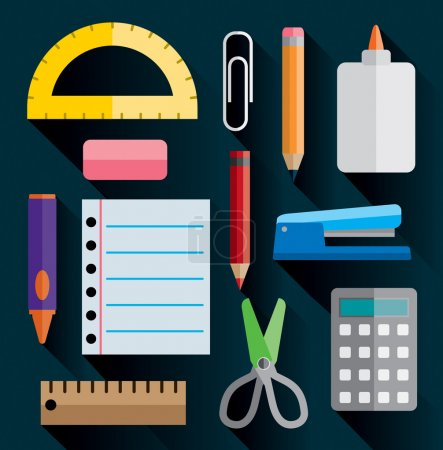 Office and School Supplies Flat Images Illustration