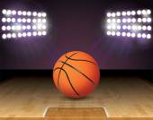 Basketball-Court-Ball-Lichter und Hoop Illustration