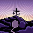 A Christian Easter background with empty tomb and ...