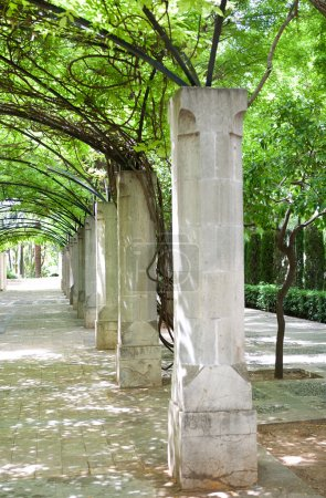 park with old stone columns