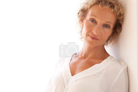 portrait of mature caucasian blond woman