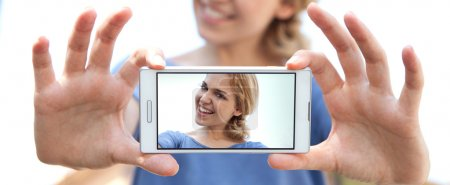 woman take selfies pictures of herself