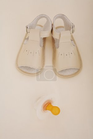 pair of soft baby booties shoes