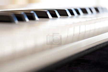 Photo pour Plan rapproché nature morte vue de profil de détail d'un clavier de piano touches noires et blanches, intérieur. (Objet, Musique, Divertissement). - image libre de droit