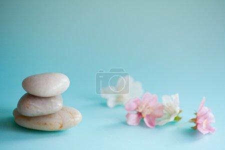 Photo pour Détail close up nature morte vue d'une pile de pierres blanches lisses naturelles équilibrant dans une pile contre les fleurs de fleurs roses dans un fond de spa de santé bleu Objets de nature et énergie zen . - image libre de droit