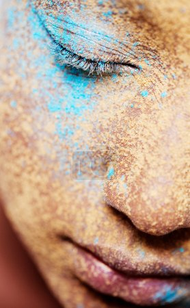 girl face with makeup powder pigment and glitter
