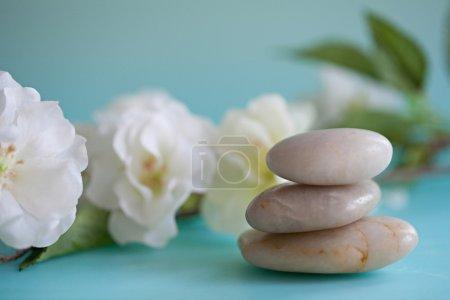 Pile of natural smooth white stones balancing