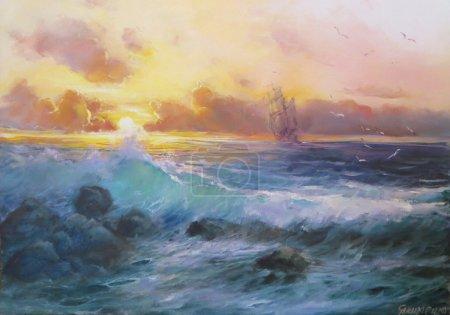 Evening. Coast. Ship