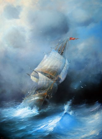 Favourable wind. Marine painting.