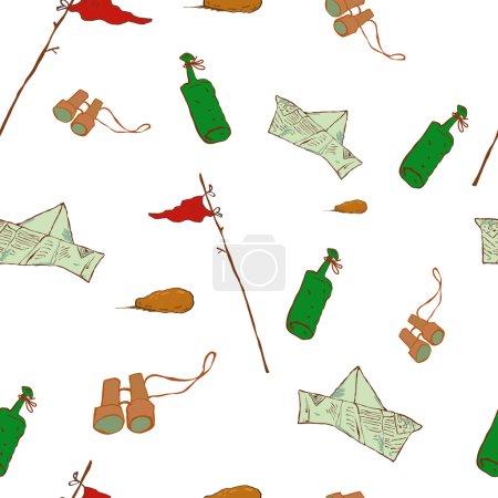 Illustration pour Illustration vectorielle dessin animé, Motif objets du désert Motif objets de la bouteille, papier Panama, sites web de conception, produits promotionnels, matériaux imprimés , - image libre de droit