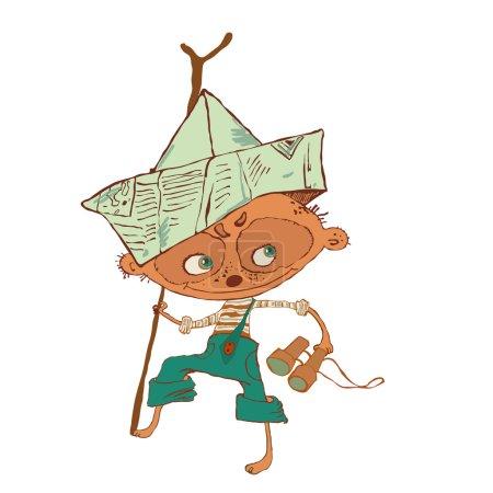 Little boy with binoculars similar to meerkat, playing pirate