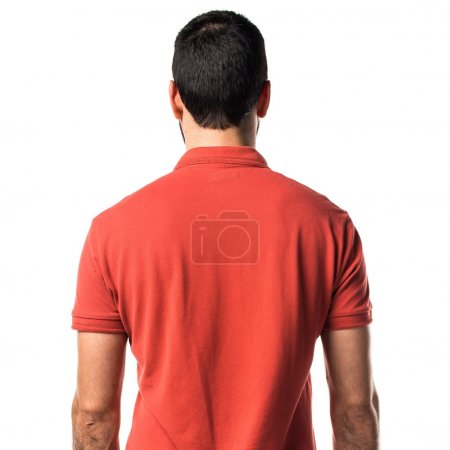 Man wearing red polo shirt