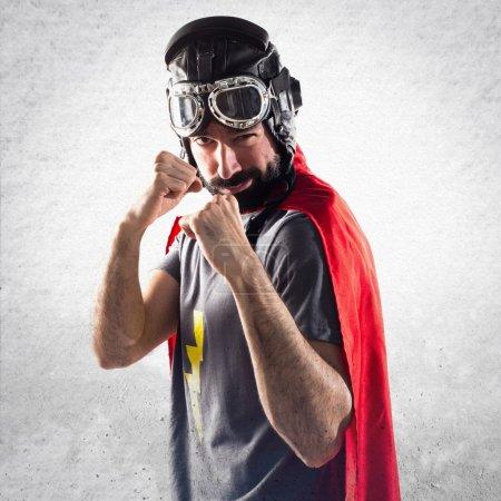 Superhero giving a punch