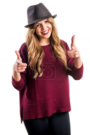 Hipster young girl with thumb up