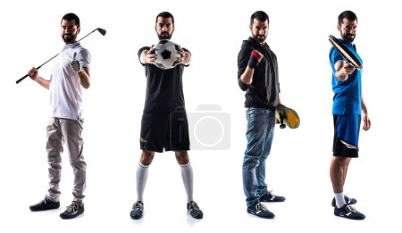 Group of sport people playing golf, tennis, football and skate