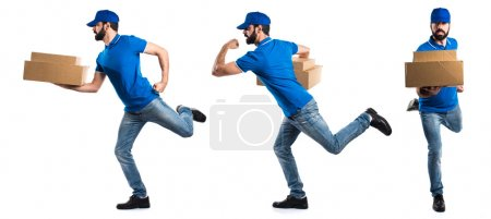 Photo for Delivery man running fast - Royalty Free Image