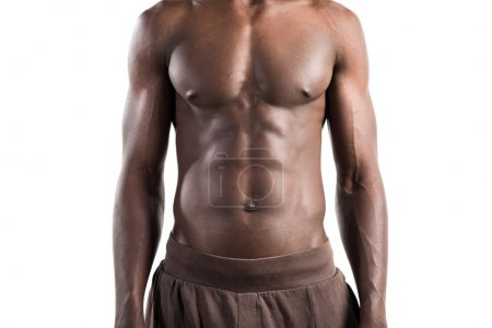 Strong black man posing in studio
