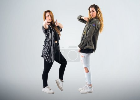 Pretty young girls over isolated background