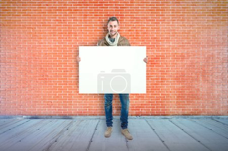 Man with empty placard