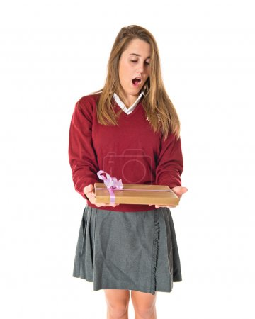 Student doing surprise gesture over white background