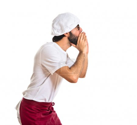 Chef shouting over white background