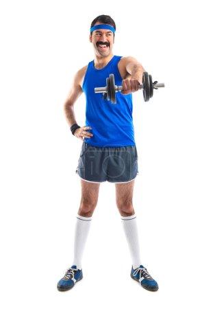Sportman doing weightlifting