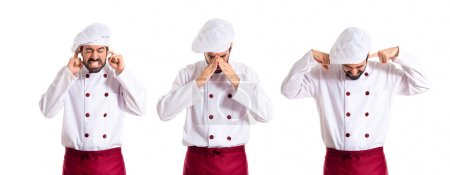 Photo for Frustrated chef over white background - Royalty Free Image