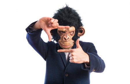 Monkey man focusing with his fingers