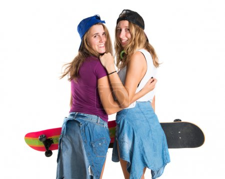 Photo for Two friends with their skateboards - Royalty Free Image