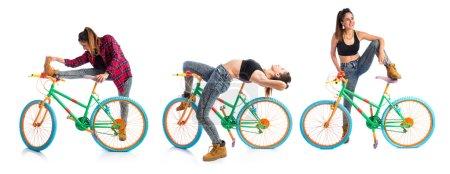 Woman resting colorful bike
