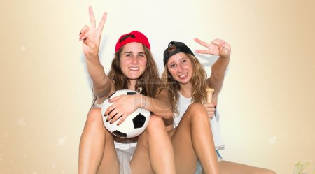 Photo for Girls with several sports item's - Royalty Free Image