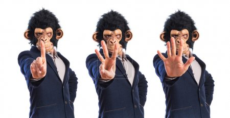 Monkey man counting one