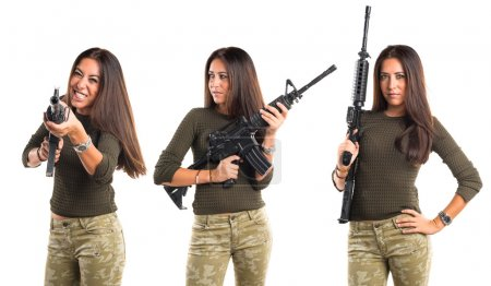 Woman holding a SMG...