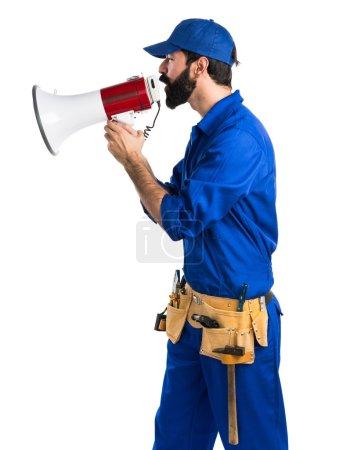 Plumber shouting by megaphone