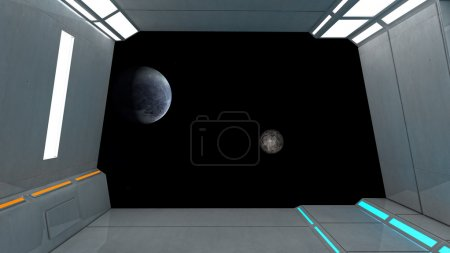 Futuristic room and planet