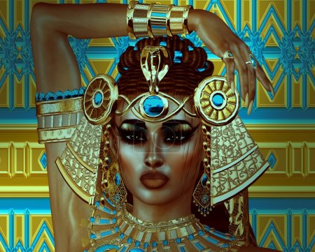 Egyptian woman, beads, beauty and gold in our digital art fantasy scene.