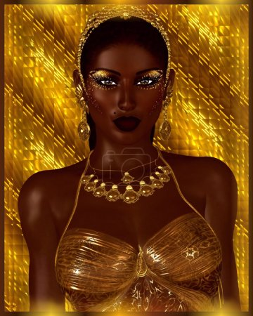 African American Fashion Beauty. A stunning colorful image of a beautiful woman with matching makeup, accessories and clothing against an abstract background.