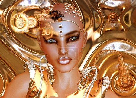 Photo for A shiny gold abstract background sets the stage for this futuristic robot girl to show off man's creation of modern machinery and beauty combined. - Royalty Free Image