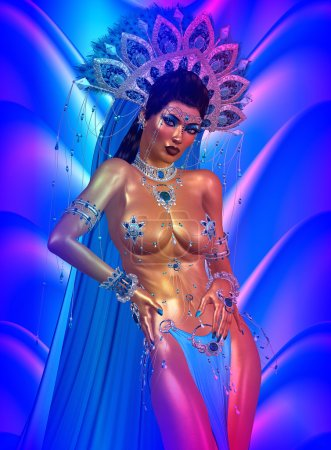Asian woman with sexy body,posing. Beautiful face, cosmetics, diamonds and jewelry adorn this Asian girl, all set against an abstract blue background with wave pattern.