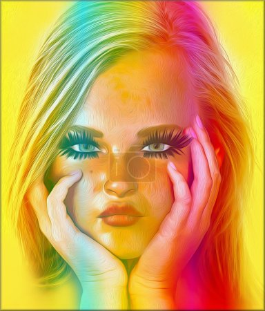 A blonde girl with her hands on her chin thinking, her expression shows she is a bit of a spoiled brat and acting grumpy. Abstract orange and gold gradient and oil paint effect.