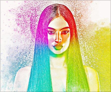 Photo pour Image abstraite de femme brune avec le long cheveu droit. Ce regard numérique moderne d'art est une image pop colorée d'un beau plan de femme vers le haut. Les couleurs douces le rendent parfait pour l'art, la beauté, la santé et les projets de thème de mode. - image libre de droit