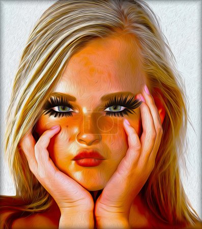 A blonde girl with her hands on her chin thinking, her expression shows she is a bit of a spoiled brat and acting grumpy.