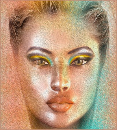 Woman's face and cosmetics close up in our modern digital art style. Beauty and fashion in a 3d render.