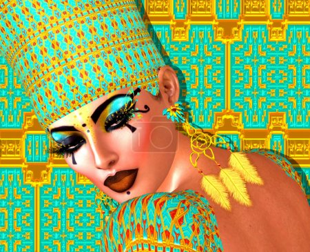 Egyptian queen adorned with gold and turquoise jew...
