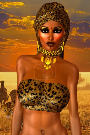African American Woman in Leopard Print Fashion with Beautiful Cosmetics and Head Scarf.