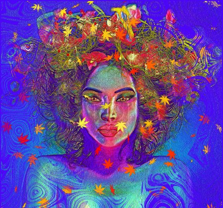 Colorful leaves and swirls enhance this abstract digital art image of a woman's face, close up.