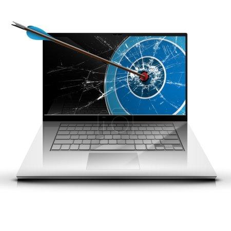Arrow hitting laptop monitor